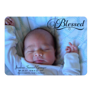 Blessed Double Sided Photo Boy Birth Announcement