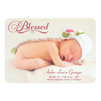 Blessed Double Sided Photo Girl Birth Announcement