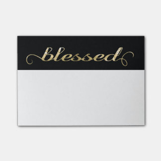 Blessed, Gold Foil-Look Inspirational Grateful Post-it Notes