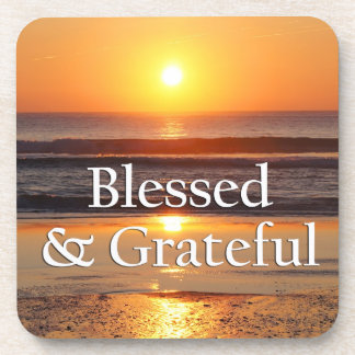 Blessed & Grateful Sunset in Portugal Coasters