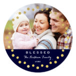 Blessed Holiday Ornament Photo Card / Navy Gold 13 Cm X 13 Cm Square Invitation Card