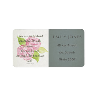 BLESSED & IMPORTANT ENOUGH TO ASK RECEIVE  FLORAL ADDRESS LABEL