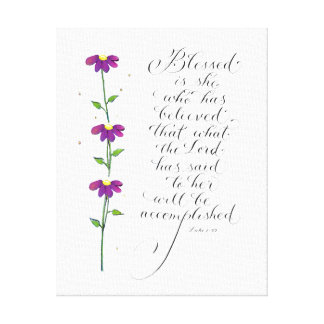Blessed is she inspiration for women typography canvas print