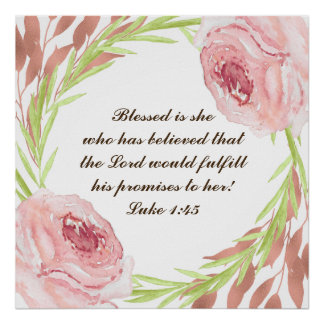 """""""Blessed is she..."""" Poster with Rosie Wreath"""