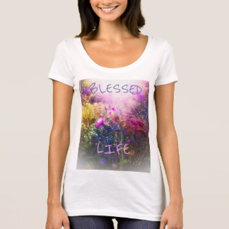 BLESSED LIFE WHITE SCOOP T SHIRT