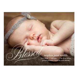BLESSED Modern Birth Announcement Postcard