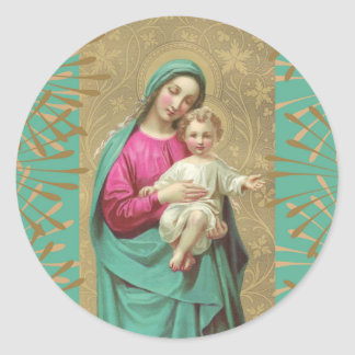Blessed Mother Baby Jesus Decorative Border Classic Round Sticker