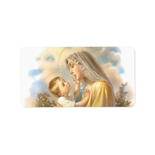 Blessed Mother Baby Jesus  Roses Label