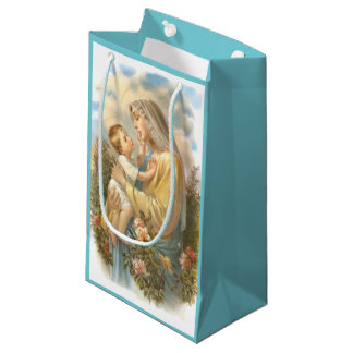 Blessed Mother Baby Jesus  Roses Small Gift Bag