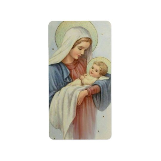 Blessed Mother holding the Child Jesus Label
