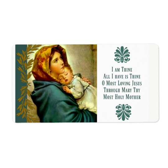 Blessed Mother holding the Child Jesus Shipping Label