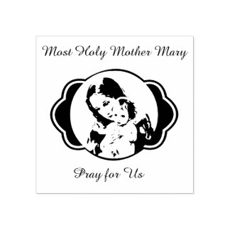 Blessed Mother Mary Baby Jesus Rubber Stamp