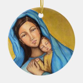 Blessed Mother Round Ceramic Decoration