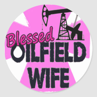Blessed Oilfield Wife Pink Cross Round Stickers