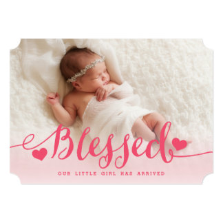 Blessed   Pink Baby Girl Photo Birth Announcement