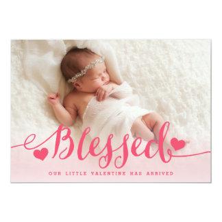 Blessed | Pink Valentine Birth Announcement