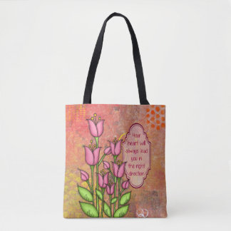 Blessed Positive Thought Doodle Flower Bag