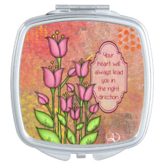 Blessed Positive Thought Doodle Flower Mirror Compact Mirrors
