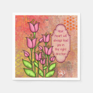 Blessed Positive Thought Doodle Flower Napkin Disposable Serviette