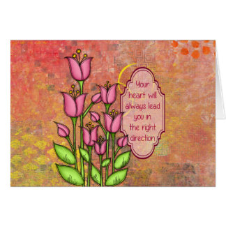 Blessed Positive Thought Doodle Flower Note Card
