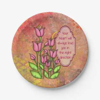 Blessed Positive Thought Doodle Flower Plate