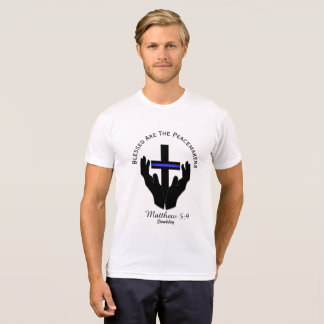 Blessed  The Peacemakers Matthew 5:9 Round Cross T-Shirt