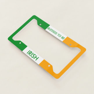 Blessed to be Irish Tricolor Flag Licence Plate Frame