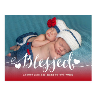 Blessed Twins   Photo Birth Announcement Postcard