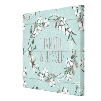 Blessed VI Mint | Thankful & Blessed Canvas Print