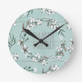 Blessed VI Mint | Thankful & Blessed Round Clock