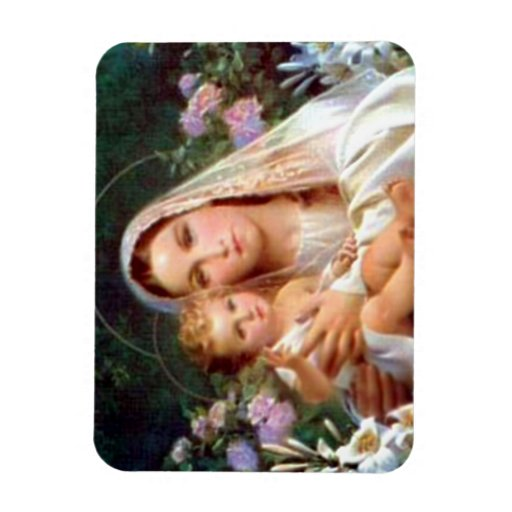 Blessed Virgin Mary and Infant Child Jesus Rectangular Magnets