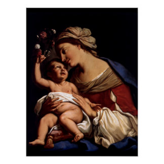 Blessed Virgin Mary and Infant Child Jesus -Sirani Poster
