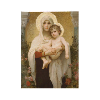 Blessed Virgin Mary and Infant Child Jesus Wood Poster