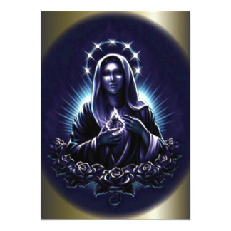 Blessed Virgin Mary and Purple Roses 13 Cm X 18 Cm Invitation Card