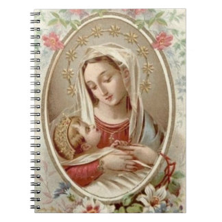 Blessed Virgin Mary Baby Jesus Floral Notebook