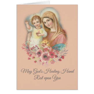 Blessed Virgin Mary Baby Jesus Flowers Get Well Card