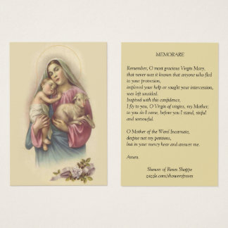 Blessed Virgin Mary Baby Jesus Memorare Prayer Business Card