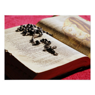Blessed Virgin Mary Bible Rosary Poster