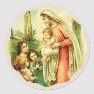 Blessed Virgin Mary holding Baby Jesus Children Classic Round Sticker