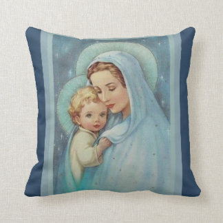 Blessed Virgin Mary Mother Baby Jesus Cushion