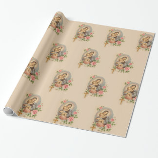 Blessed Virgin Mary Mother Baby Jesus Flowers Wrapping Paper