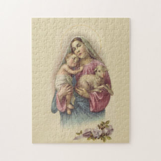 Blessed Virgin Mary Mother Baby Jesus Lamb Jigsaw Puzzle
