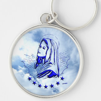 Blessed Virgin Mary - Mother of God Silver-Colored Round Key Ring