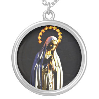 Blessed Virgin Mary Round Pendant Necklace