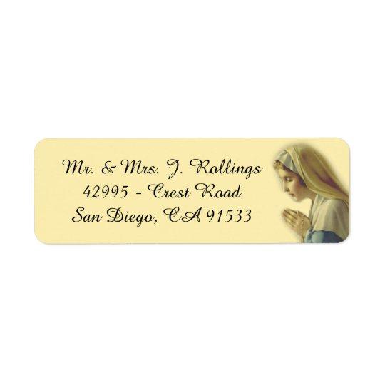Blessed Virgin Mary Praying Return Address Label