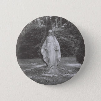 Blessed Virgin Mary Stone Statue 6 Cm Round Badge