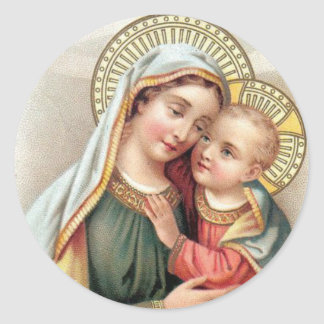 Blessed Virgin Mary with Baby Jesus Classic Round Sticker