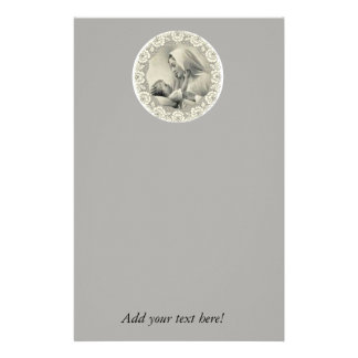 Blessed Virgin Mary with Baby Jesus Lace Border Stationery