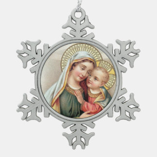 Blessed Virgin Mary with Baby Jesus Snowflake Pewter Christmas Ornament