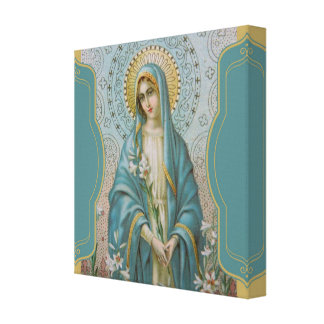 Blessed Virgin Mother Mary  with Lilies Canvas Print